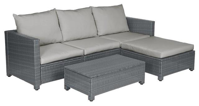 Azura Rattan Indoor/Outdoor Sectional and Table With Reversible Ottoman, Gray