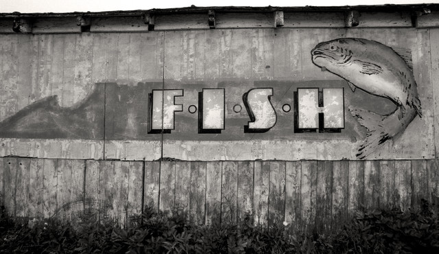 Old Fish Market Sign Halifax Nova Scotia Canada Black