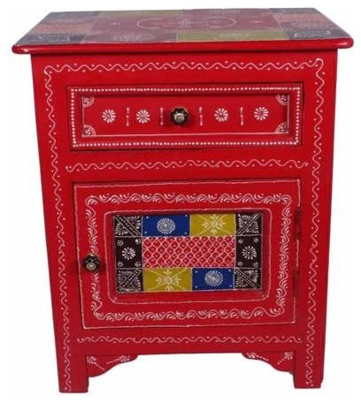 Indian Hand Painted Solid Wood, Hand Painted Indian Bedside Cabinet