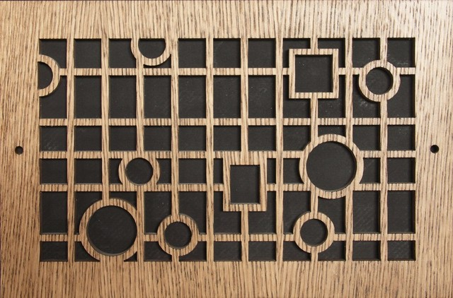 "Pattern Cut Air Supply Grille, Pattern S, 20""x14"", Oak Veneer."