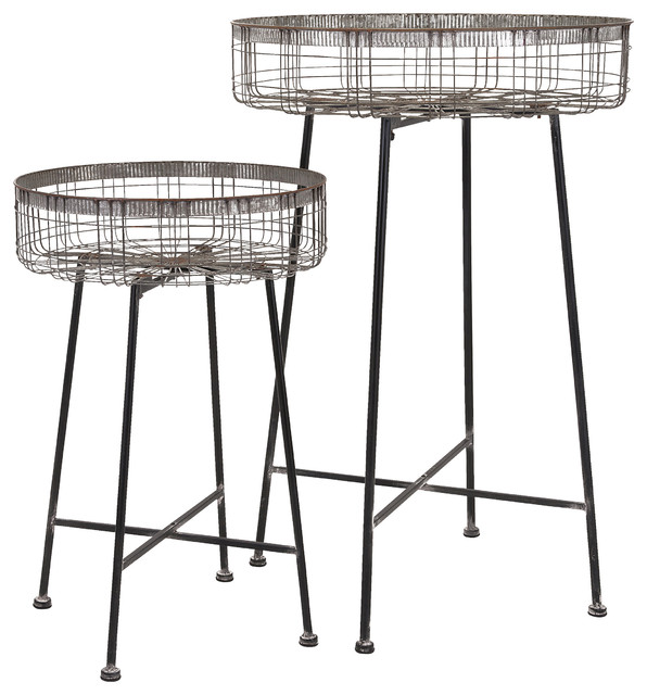Pitzer Round Wire Plant Stands, Set Of 2.