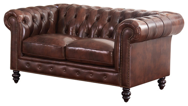Incredible Abbyson Living Grand Chesterfield Leather Loveseat Brown Bralicious Painted Fabric Chair Ideas Braliciousco