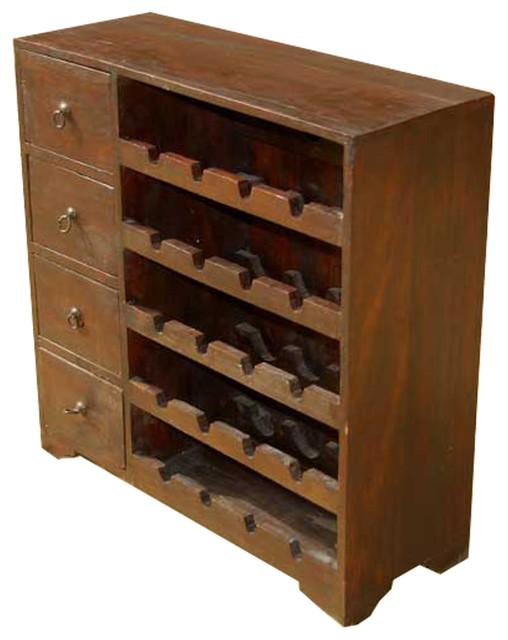 Wood Wine Rack Liquor Storage Drawer Shelves 20 Bottle ...