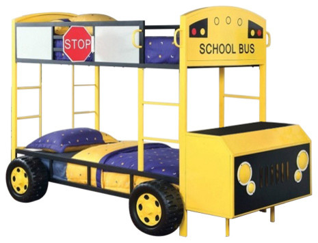 School Bus Design Twin Size Bunk Bed With Front Table and Storage