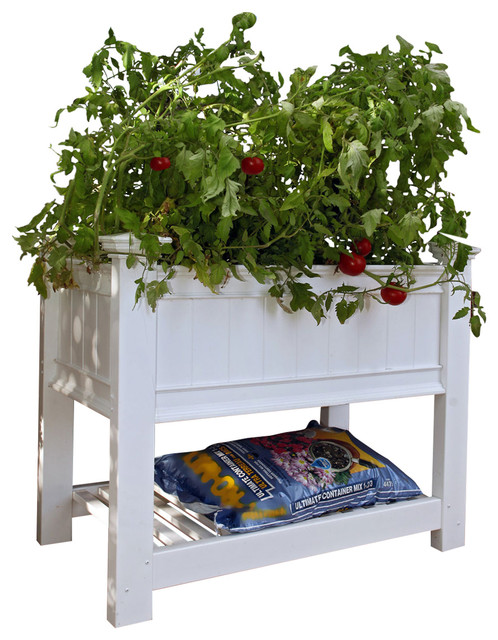 "36""x24""x35 3/8"" Cambridge Raised Planter, White"