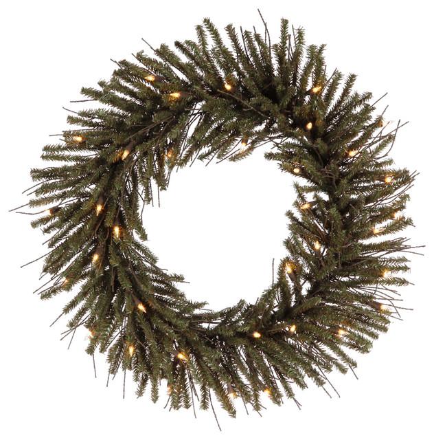 24 pre lit vienna twig artificial christmas wreath clear lights rustic wreaths - Christmas Wreaths With Lights