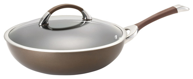 """Symmetry Chocolate Hard-Anodized Nonstick 12"""" Covered Essential Pan."""