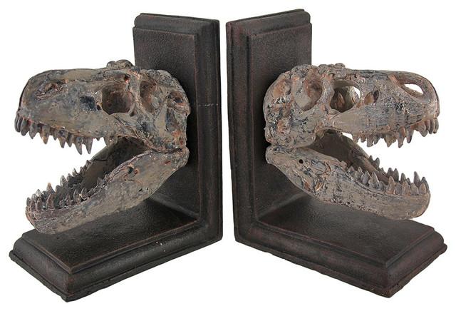 Tyrannosaurus Rex T-Rex Skull Bookends, Set Of 2