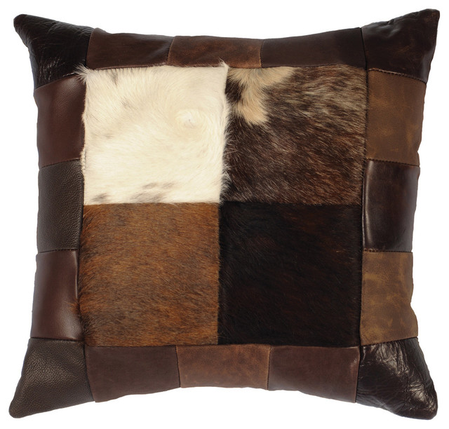 Wooded river patch leather hair on hide pillow 16x16 - Fabric for throw pillows ...