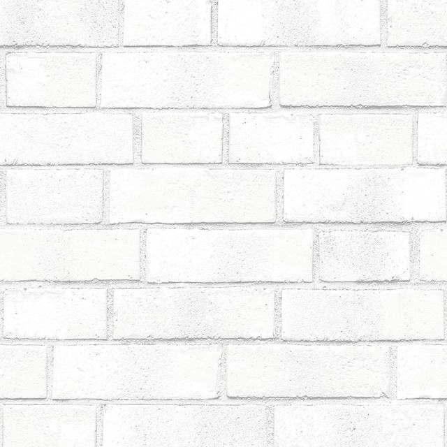 Brick, Removable Wallpaper, White, 56.37 Sq. Ft..