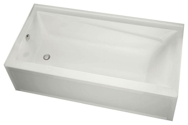 MAAX Soaking Left Hand Bathtub, Integrated Tiling Flange and Skirt, White