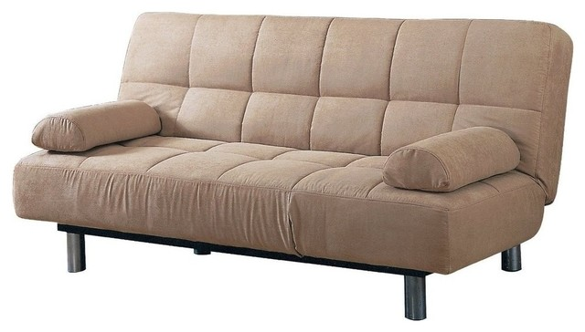 Awesome Beige Vinyl Leather Finish Futon Sleeper Sofa Bed Contemporary Futons