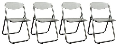 Set of Four Chrome & Lucite Folding Chairs By G. Piretti