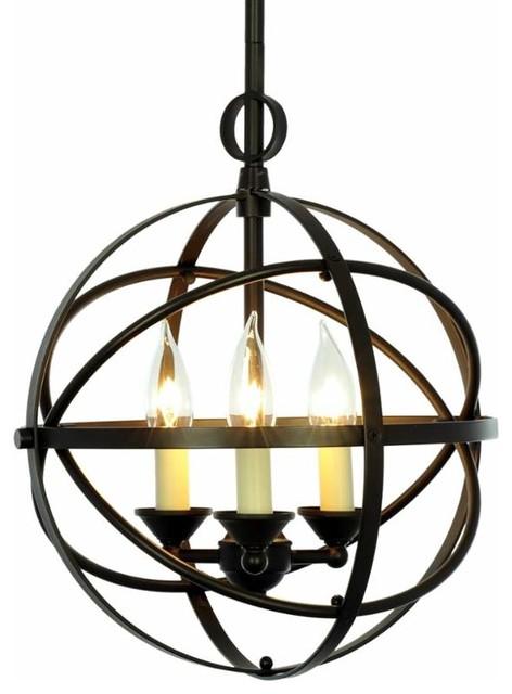 3 Light Cage Orb Chandelier