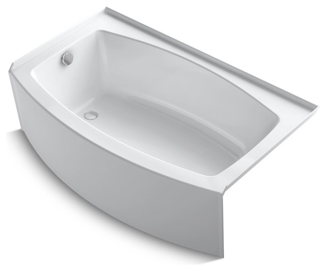 Expanse Curved Alcove Bath Tub, Integral Flange And Left-Hand Drain, White.