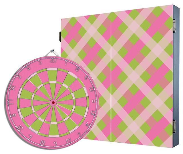 Flamingo Pink Dartboard Cabinet Combo - Contemporary - Darts And Dartboards - by Darts & Decor