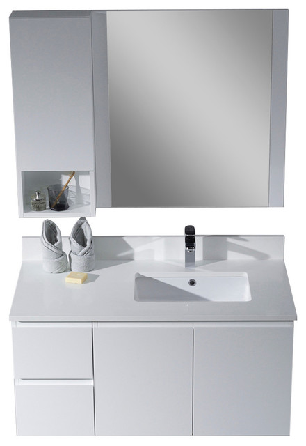 """Monaco 42"""" Wall Mount Right Vanity Set With Mirror And Wall Cabinet, Matte White."""