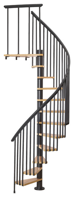 "Dolle Calgary Black 55"" Spiral Staircase With 2 Extra Balusters"