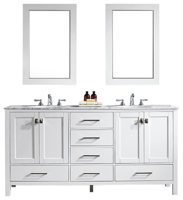 "Pierre Vanity With Mirror, White, 72""."