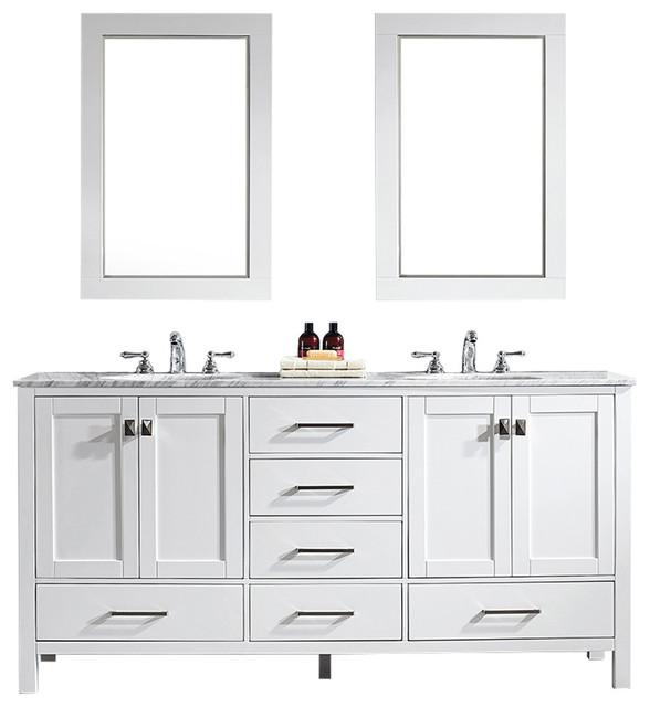 """Gela Double Vanity With Mirror, White, 72"""""""