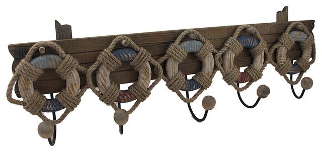 Wood And Metal Nautical Life Ring 5 Hook Wall Rack Beach Style Coatracks  Part 54