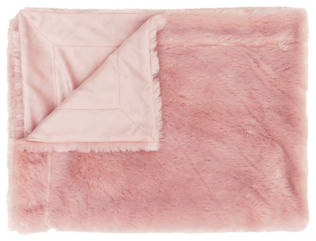 30x40 Savannah Faux Fur Decorative Baby Throw, Rose Smoke.