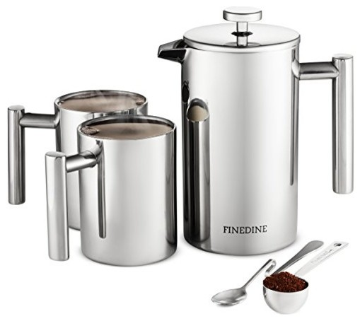 French Press Coffee Maker Set, 5-Piece 18/8 Stainless Steel, Double Wall.