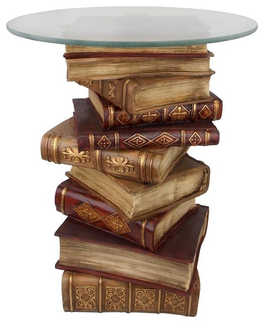 Power Of Books Sculptural Glass-Topped Side Table.