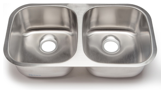 Clark Double-Bowl Kitchen Sink, Stainless Steel - Traditional ...