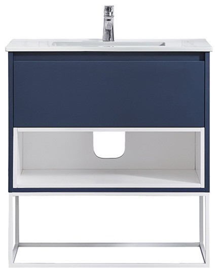 Ove Decors Mason 32 Navy Blue Single Sink Vanity With Porcelain Top.