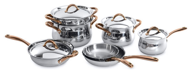 11-Piece Ouro Cookware Set With Rose Gold Handles.