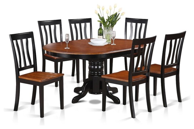 Merveilleux 7 Piece Dining Room Set Oval Table With Leaf And 6 Dining Chairs