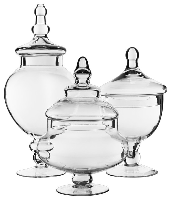 3-Piece Glass Apothecary Candy Buffet Jar Set.