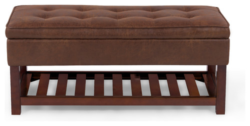 Hudson Ottoman/Bench, Distressed Brown