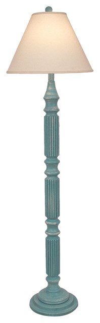Weathered Turquoise Sea Ribbed Floor Lamp.