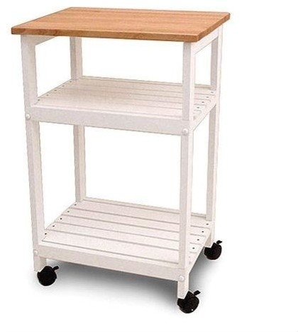 White Kitchen Microwave Cart With Butcher Block Top and Locking Casters