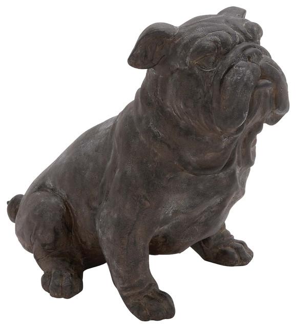 Antique dark brown sitting bulldog statue farmhouse decorative objects an - Statue decorative d interieur ...