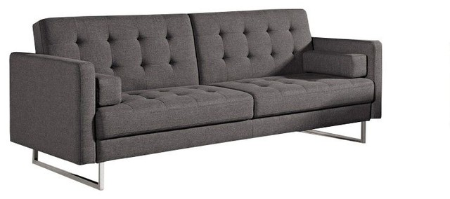 Divani Casa Bauxite Modern Gray Fabric Sofa Bed