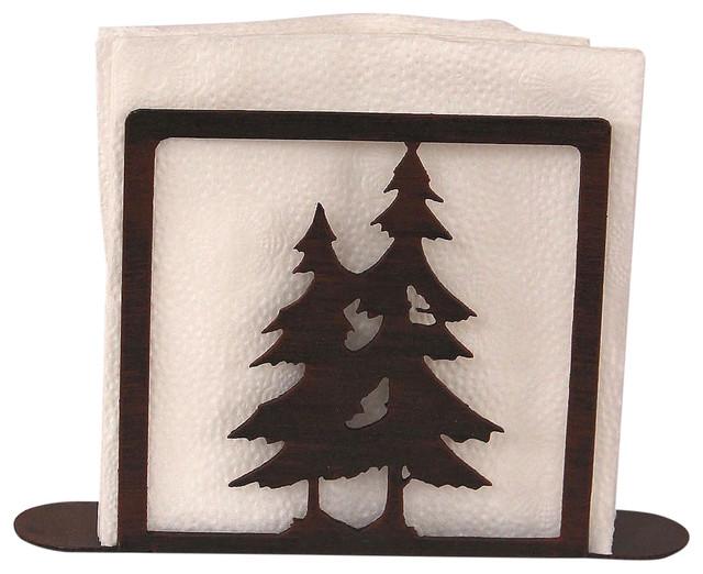 Iron Double Pine Tree Napkin Holder.