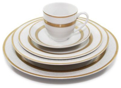 20 Piece  Queen  White Gold Dinner Set 24K Gold Fine Porcelain  sc 1 st  Houzz : white and gold dinnerware - pezcame.com
