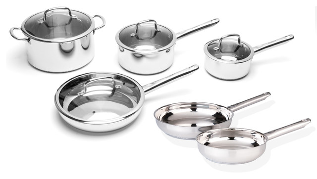 Earthchef Boreal 10-Piece Stainless Steel Cookware Set.