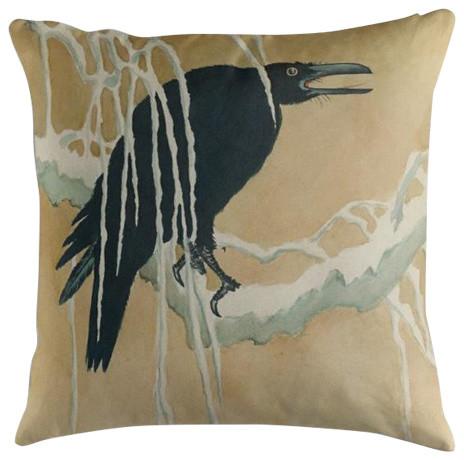 """""""Blackbird in Snow"""" Japanese Print Cushion, 50x50 cm"""