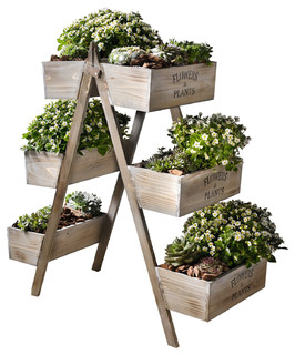 Wooden Foldable Plant Stand With 6 Seed Boxes Farmhouse