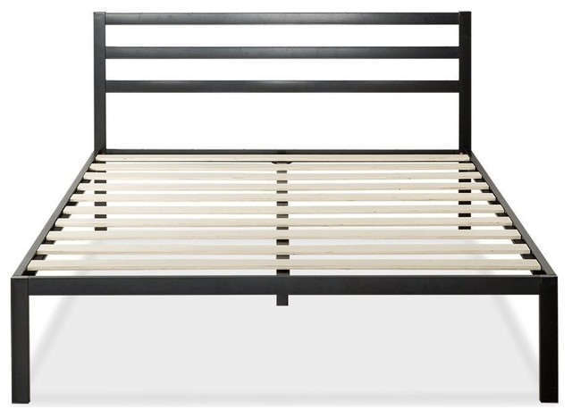 Metal Platform Bed With Headboard And Wood Slats, Full.
