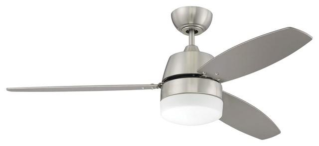 "Craftmade Beltre Modern 52"" 3-Blade Indoor Ceiling Fan, Brushed Nickel."