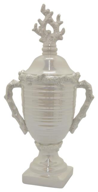 "Ceramic Decorative Jar, White Porcelain Ceramic 10""x8""x24"""