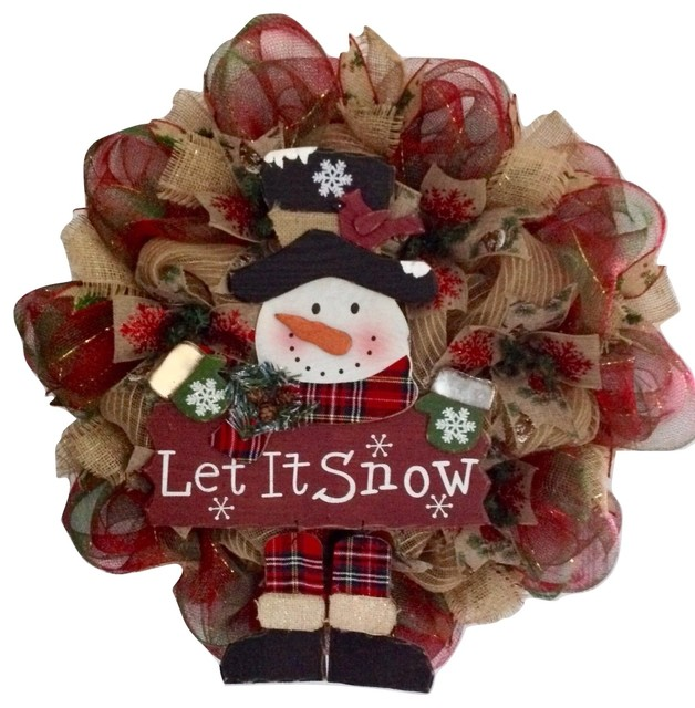 Let It Snow Dangling Legs Snowman Winter Or Holiday Deco Mesh Wreath Handmade.