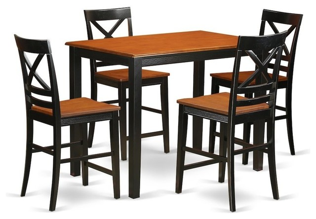 5-Piece Counter Height Dining Room Set, Pub Dining Table And 4 Dining Chairs by East West Furniture