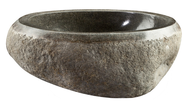 Cp Round Gray Above Counter Vessel Sink For Vanity, River Stone, Small, 13.8w.