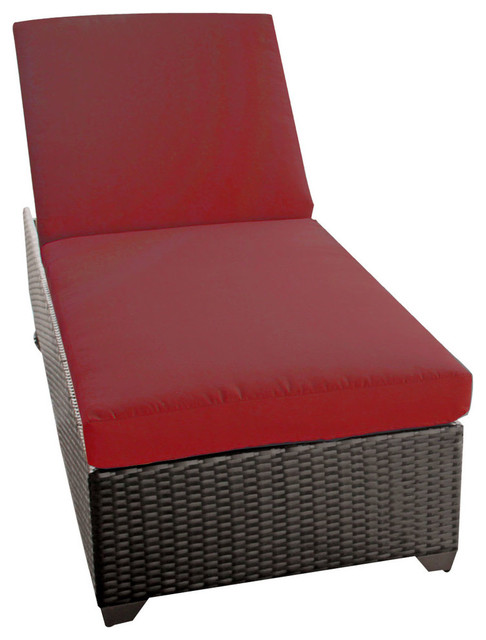 Classic Chaise Outdoor Wicker Patio Furniture, Terracotta.